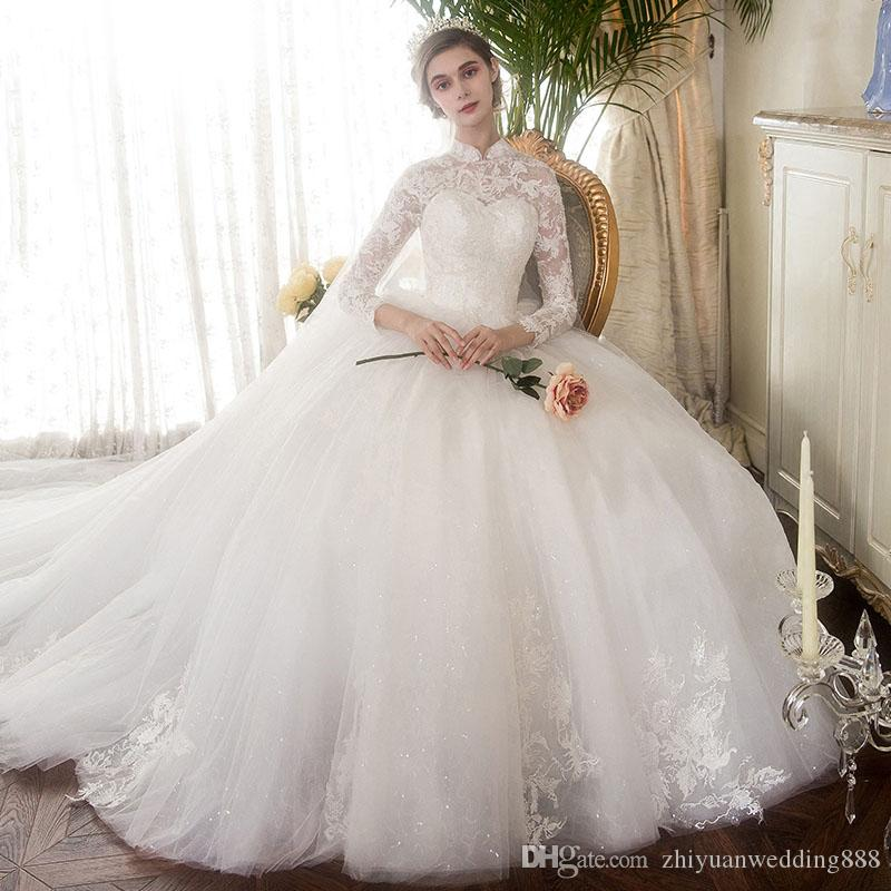 Real Photos Long Sleeves Lace Ball Gown Wedding Dresses 2018 High ...