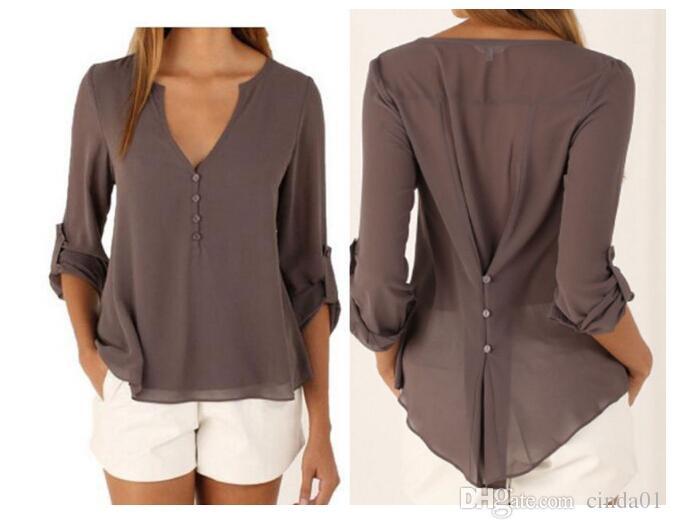 Kadın Artı Boyutu Zarif V Yaka Rahat Moda Bluzlar Tops Uzun Kollu Şifon Sonbahar İlkbahar Yaz Tees
