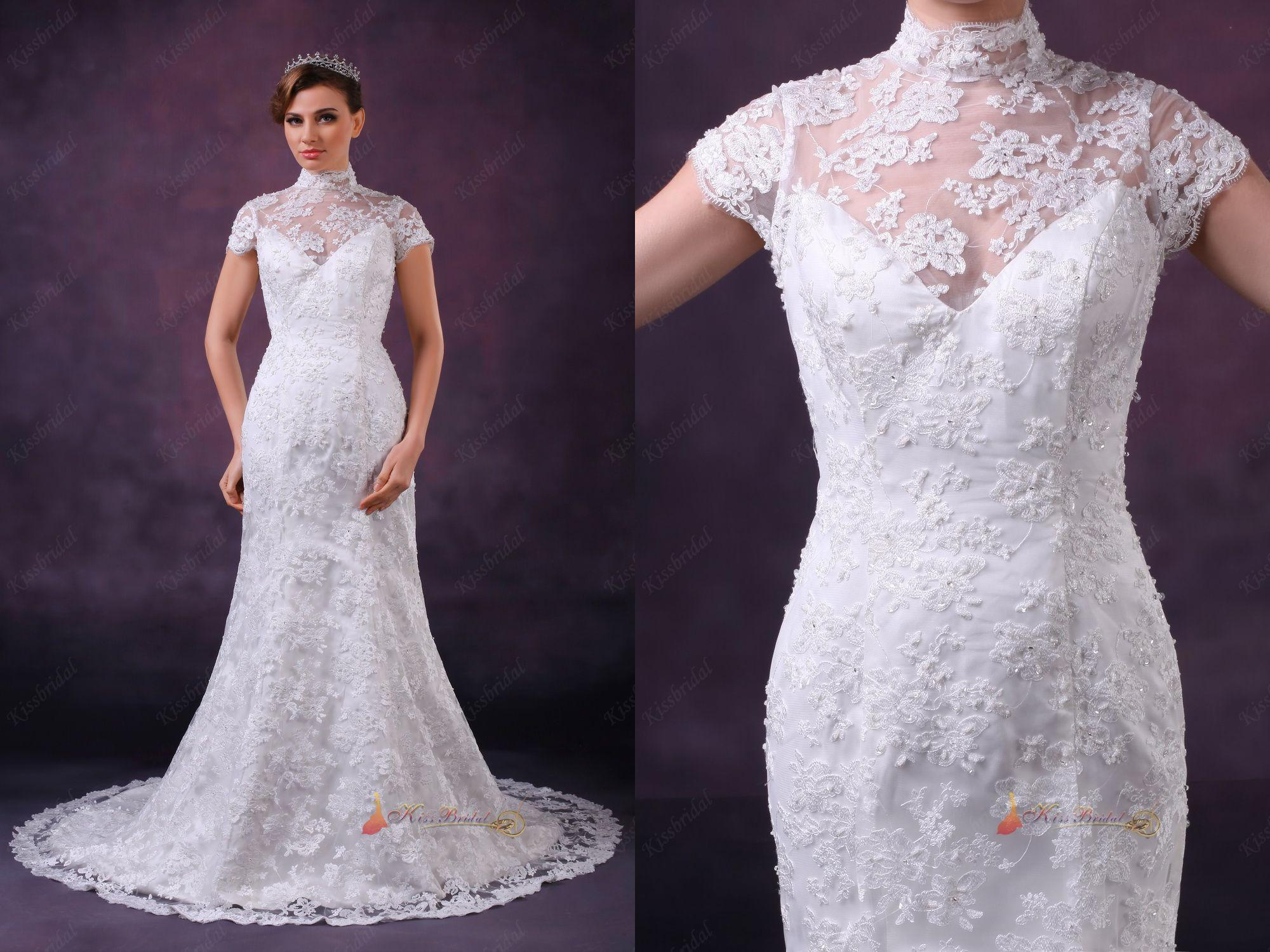Christmas wedding dress zipper - 2014 New Christmas Wedding Dress High Neck Short Sleeve Zipper Back Chapel Train Applique Bead Lace Bridal Gowns Dresses Fashion Trend 2015