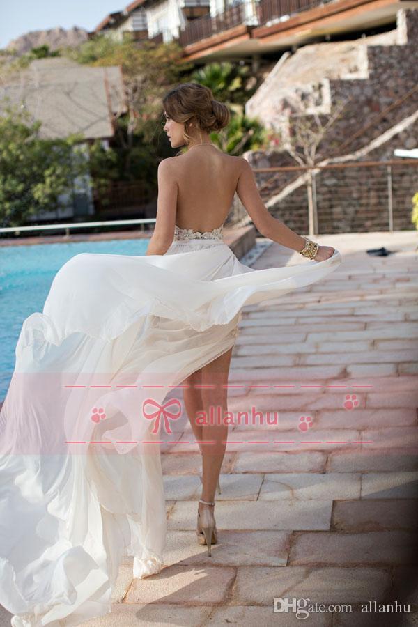 2017 En Stock Julie Vino Robes De Mariée Été Plage Vintage Une-ligne Halter Dos Nu Robes De Mariée En Dentelle Haute Split Pas Cher Robes De Mariée