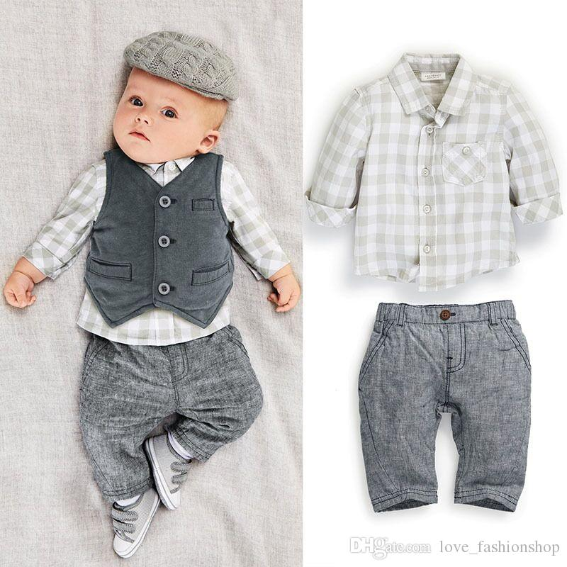 8341f383385b9 2019 2019 Kids Outfits Suits Baby Tracksuit Boys Gentleman Plaid Suits  Shirt+Vest +Pants Kids Boutique Clothing Sets Designer Clothes From  Love fashionshop