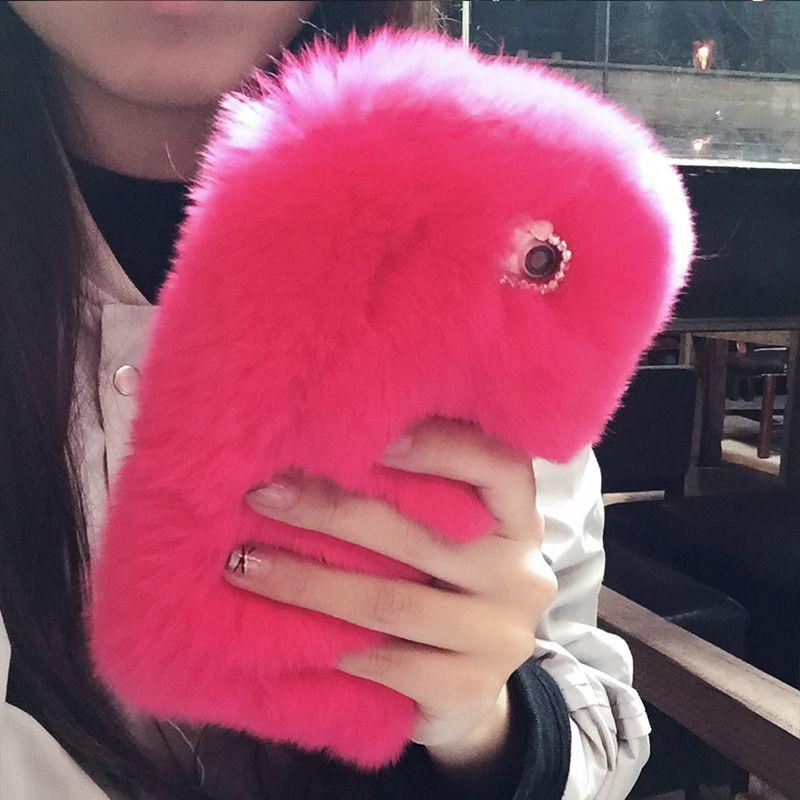 Plush phone case Rex rabbit fur Villus for iphone 6/6s 6/6S plus iPhone 7/plus iPhone X phone shell High quality free fast shipping