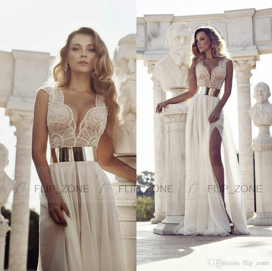 Discount Real Image Julie Vino 2015 Sheer Wedding Dresses V Neck ...