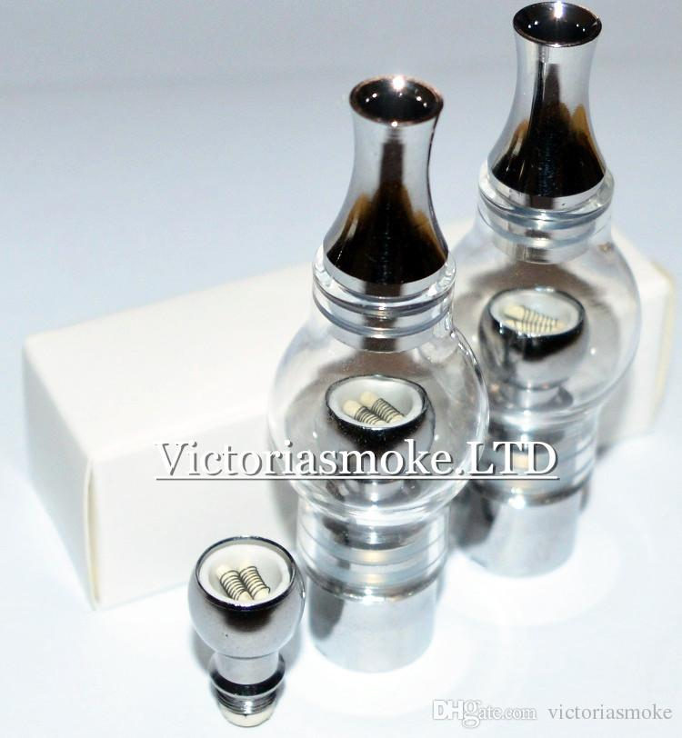 Newest Glass Globe Dual Ceramic Coil Glass globe wax vaporizer Atomizer coil head Bulb Style Steel Electronic Cigarette glass bulb Atomizer