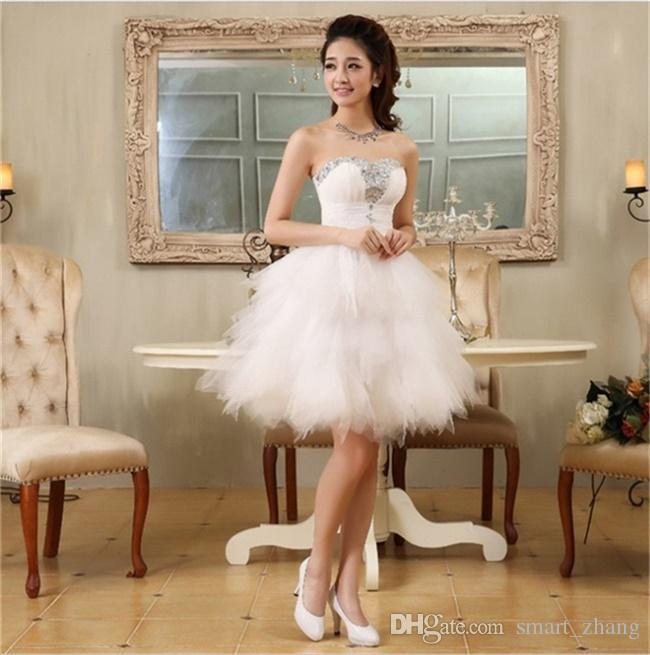 New Fashion Evening Dresses with Beading Sweetheart Bride Gown Short Ball Prom Party Dress Homecoming/Graduation Formal Dress