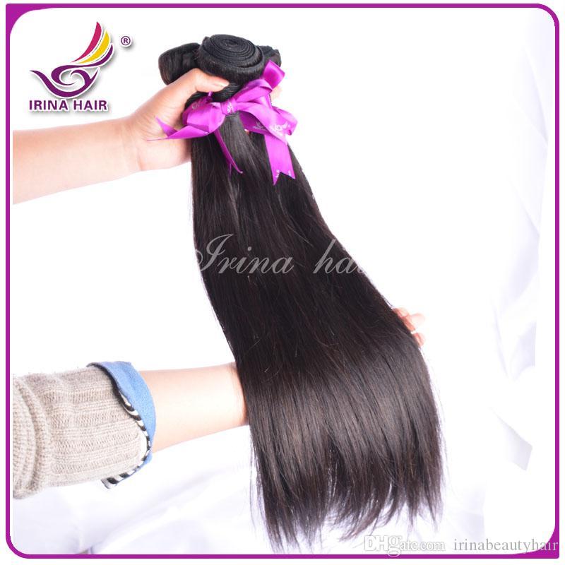말레이지아 처녀 머리카락 직선 번들 6A 말레이시아 말레이시아 레미 직물 100g / 스트랜드 4 개 묶음 / 처리되지 않은 레미 미처리 된 머리카락 확장