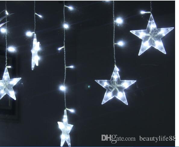 3 * 0.6M120 luzes de 12 pontas da estrela cortada cortina de decoração da janela de layout da sala de casamento de flashing luzes LED string