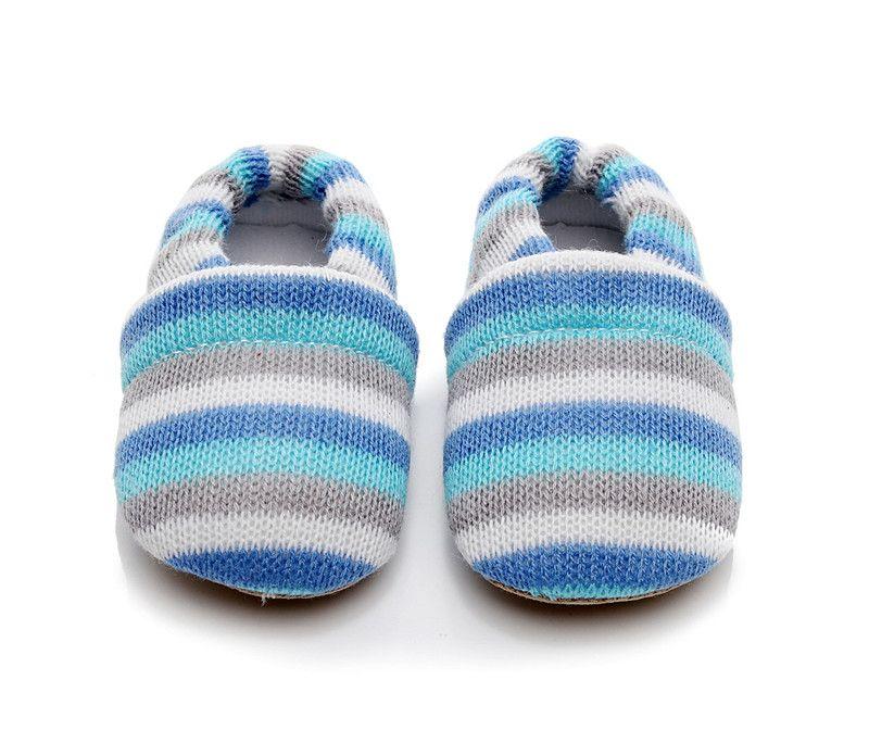 Baby First Walker Boys Girls Prewalker Kids Stripe Colorful Winter Autumn Newborn Knitted Shoes Cartoon Cute Moccasins