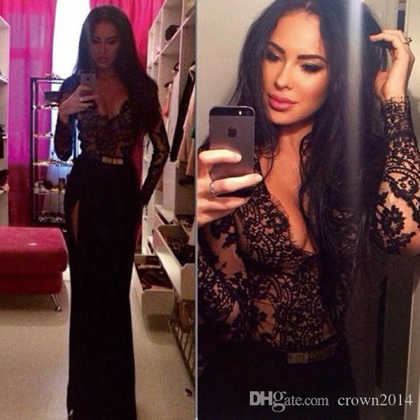 Black Lace Long Sleeve Prom Dresses Floor Length Sexy Mermaid Evening Dresses Side Slit Long Party Dresses With Long Sleeves