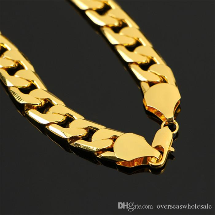 New Big 10MM Dia Yellow Solid Gold Filled Cuban Chain Necklace Thick Mens Jewelry Womens Cool for dad boyfriend birthday gift
