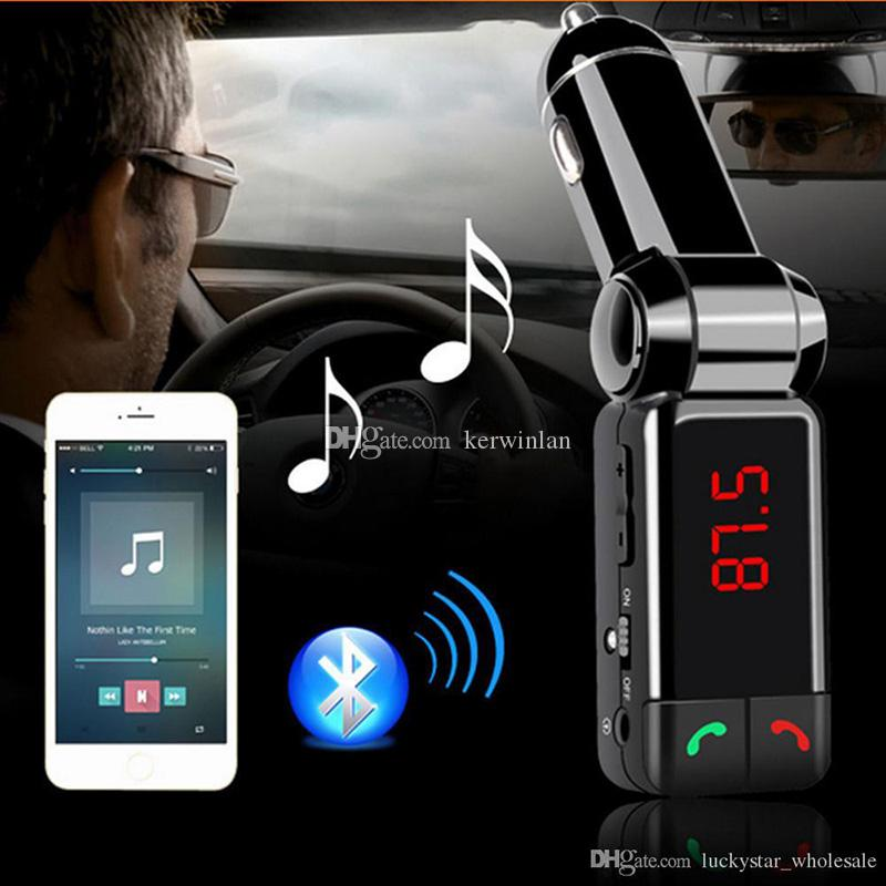 BC06 Bluetooth Car Kit Car Speakerphone BT Hands Free Dual FM Transmitter Port 5V 2A AUX-IN Music Player For Samsung iPhone Mobile