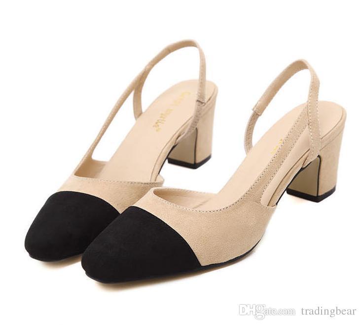 5e42a1e149c3 Acheter 2916 Nouvelles Femmes Chaussures De Travail Patchwork Noir Beige  Chunky Talon Sling Retour Chaussures Confortables Taille 34 À 39 De $26.92  Du ...