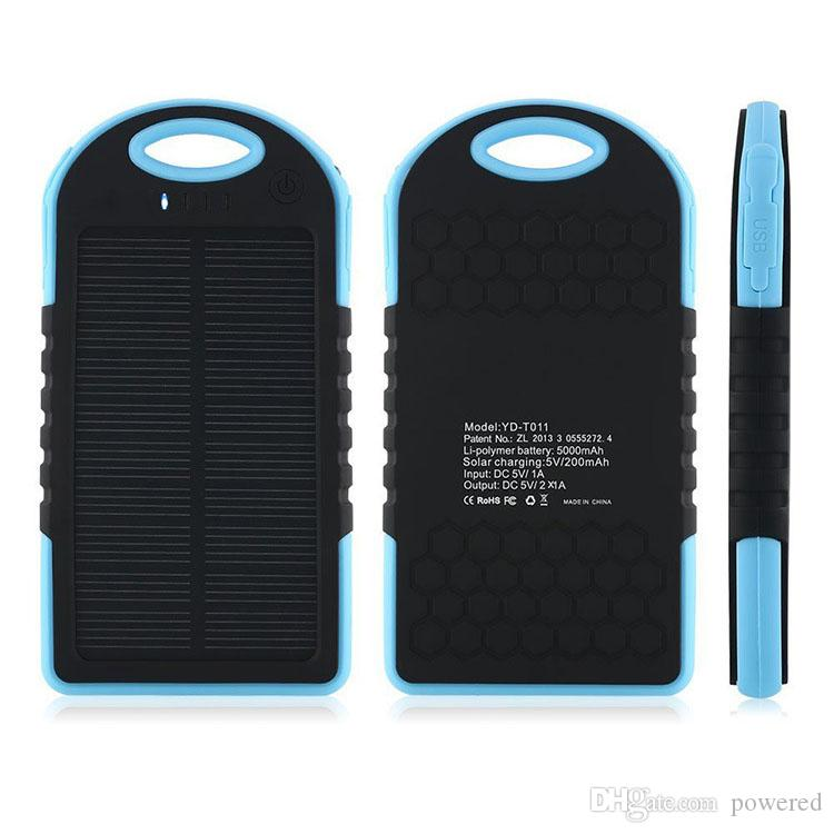 5000mAh بطارية 2 USB ميناء الطاقة الشمسية البنك شاحن خارجي البطارية الاحتياطية مع صندوق البيع بالتجزئة لباد فون سامسونج شحن مجاني