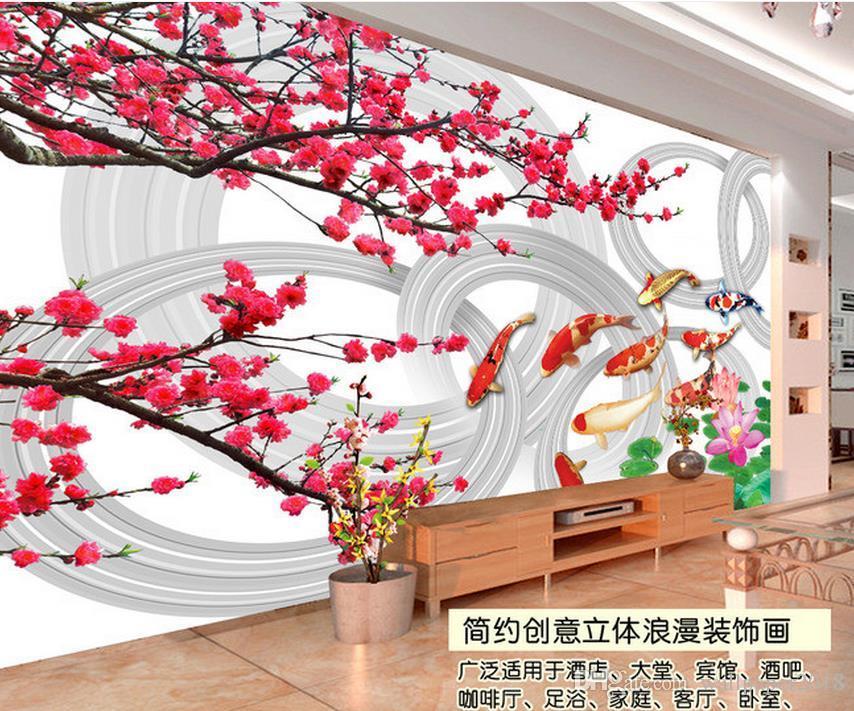 Роман персика цветок лозы кирпичной стены 3D TV фон фреска 3d обои 3d настенные обои для ТВ фона