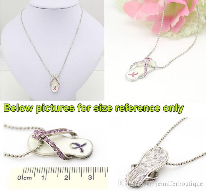 Świadomość raka piersi Różowa wstążka Biżuteria Naszyjnik, Różowa wstążka Flip Flop Naszyjnik