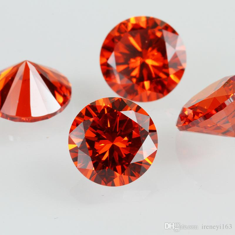 High Quality Machine Cut Orange Red Color 3A Cubic Zirconia Big Size 7-20mm Round Synthetic Loos Stone For Jewelry Making