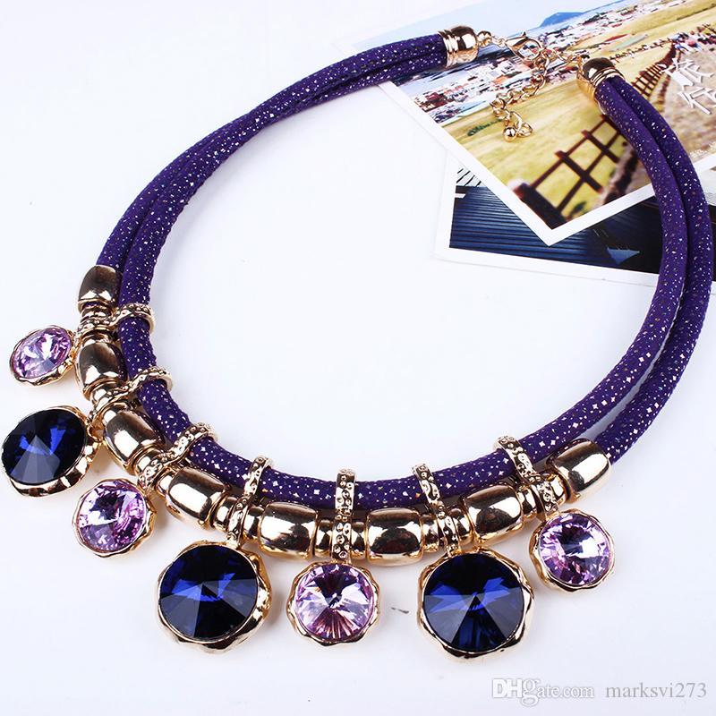 2015 nuove donne gioielli moda collare bavaglino collane con gemma di cristallo dichiarazione collane doppia catena L6220