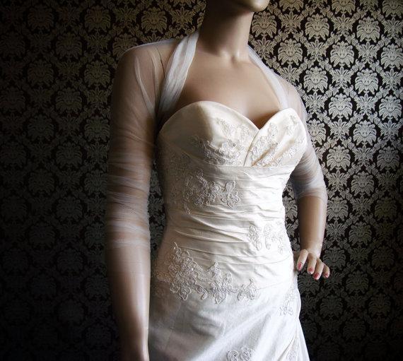2018 Sheer Tulle Bridal Wraps Jackets Long Sleeves Jacket Ruffled Blero Wedding Dress From Manweisi 188