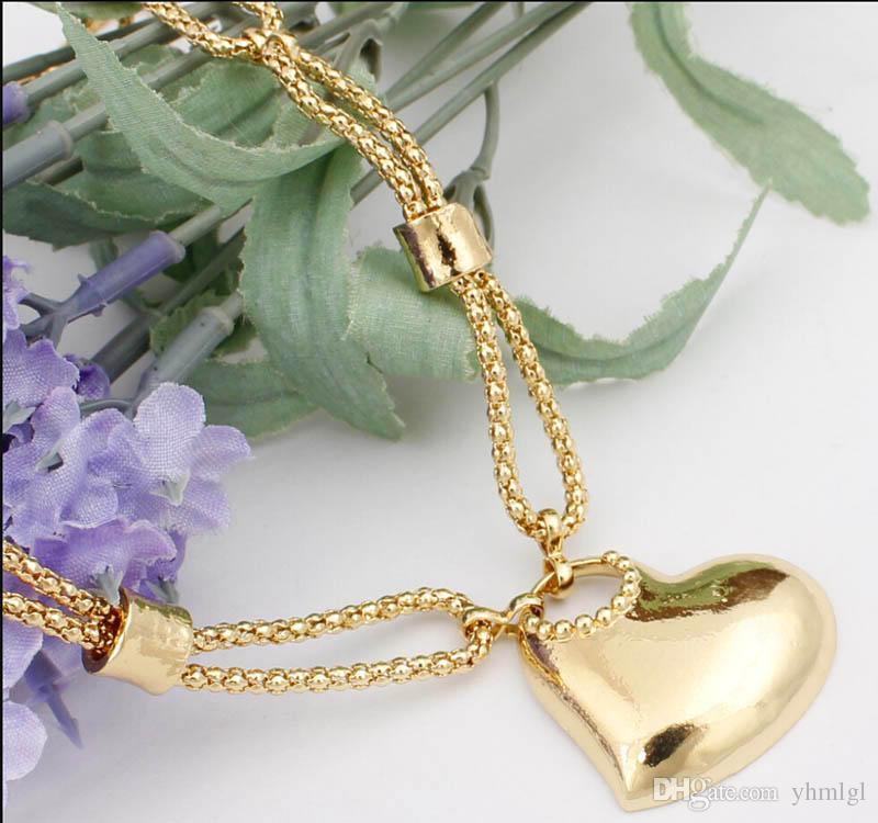 En Kaliteli Kalp Tasarım Alaşım Düğün Seti 18 K Altın Kaplama Kolye Bilezik Yüzük Küpe Takı Kadınlar Için Set Ücretsiz nakliye