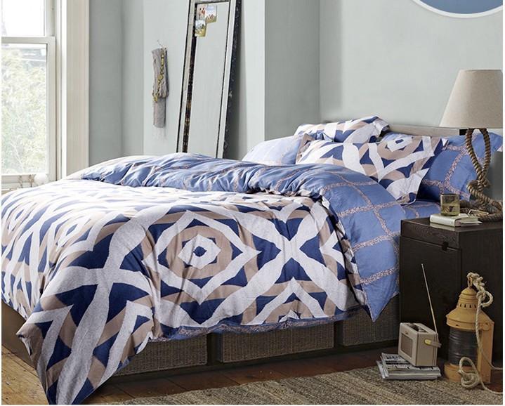 Acheter Luxe Bleu Geometrique Ensemble De Literie King Size Reine