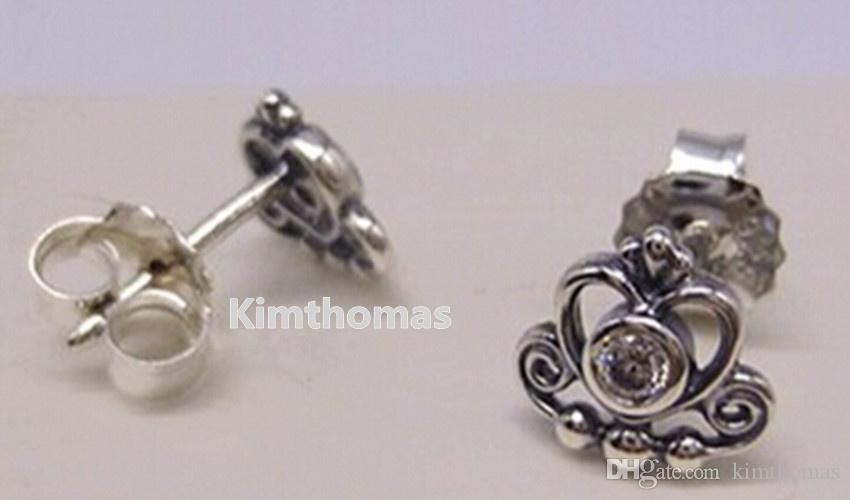 925 Sterling Silver My Princess Stud Earrings with Clear Cubic Zirconia Fits European Pandora Style Charms Jewelry