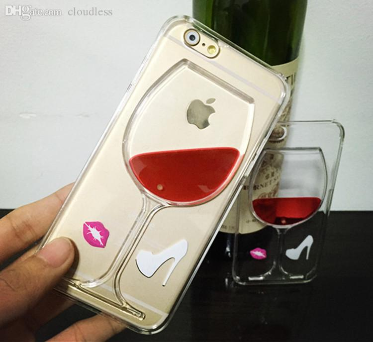 Wholesale-2015 New fashion Liquid Quicksand Red Wine Glass Beer Glass clear transparent Phone Case hard back Cover for  6 4.7""
