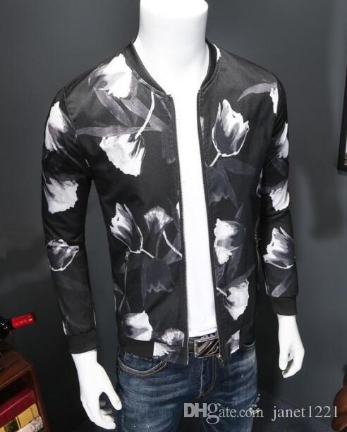 Hip Hop Men Jackets Flora Casual Design Men Motorcycle Jacket Coat Stand Collar Wild Fit Stylish Bomber Men Jackets T170606