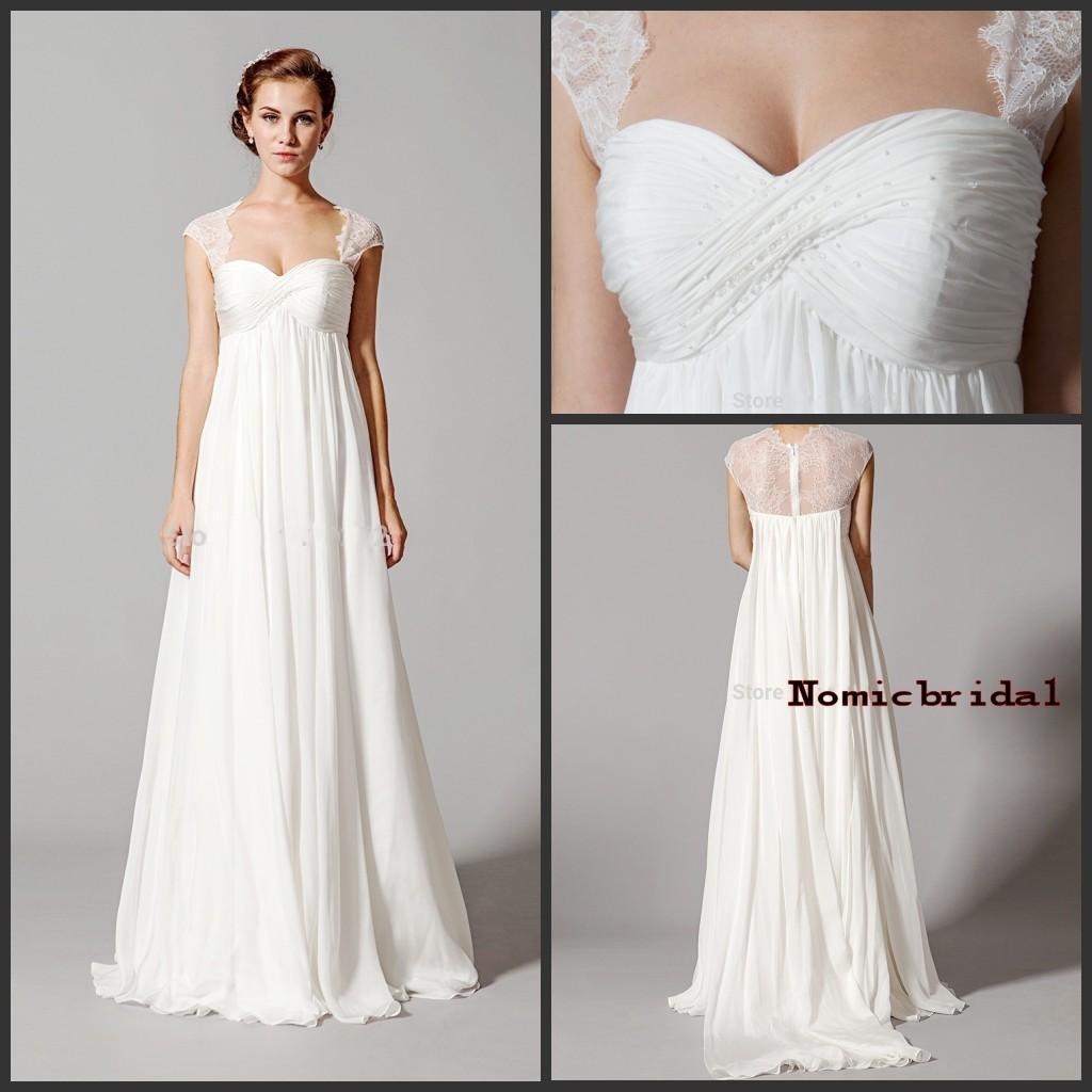 Plus Size Empire Waist Wedding Dress: White Lace Empire Waist Wedding Dresses 2016 Elegant