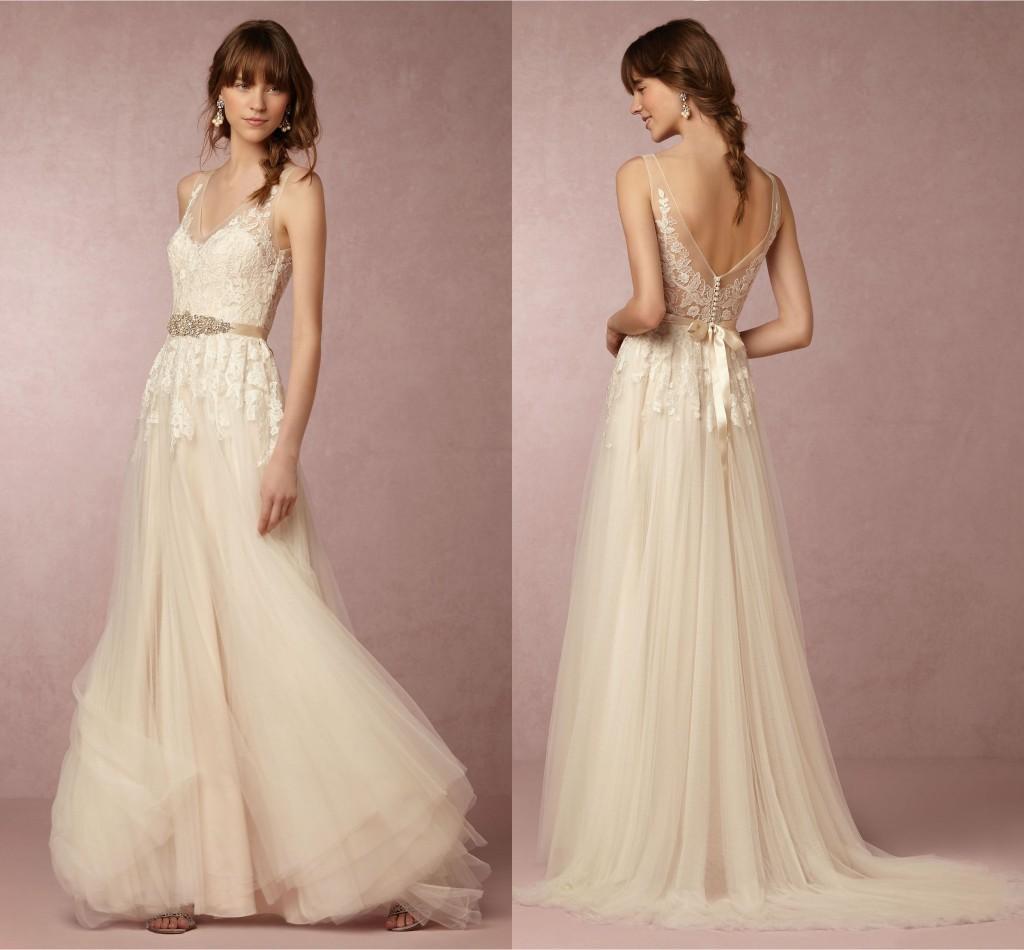 Discount 2018 Lace Wedding Dresses Elegant V Neck Sleeveless ...