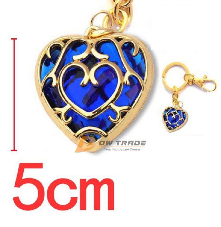 DHL 2 couleurs The Legend of Zelda coeur pendentif en cristal collier et porte-clés rouge Blue love forme porte-clés collier J010801 #