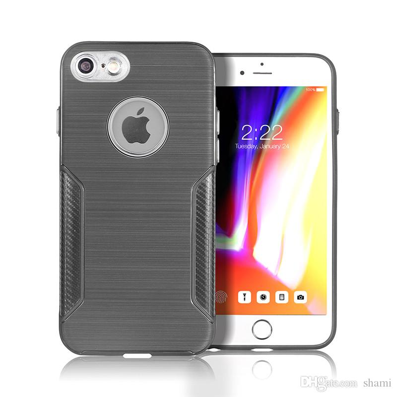 goophone ipx slim Hybrid Super rugged armor caus for iphone 7 plus 6 plus case Carbon Fiber Texture Brushed tpu metal button case