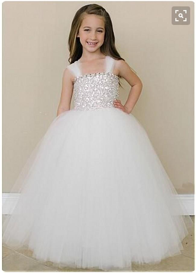 White Tulle Spaghetti Straps Flower Girl Dresses A Line Puffy Floor LENGTH Stunning Sequins Flower Girl Gowns Formal Kids Pageant Gowns