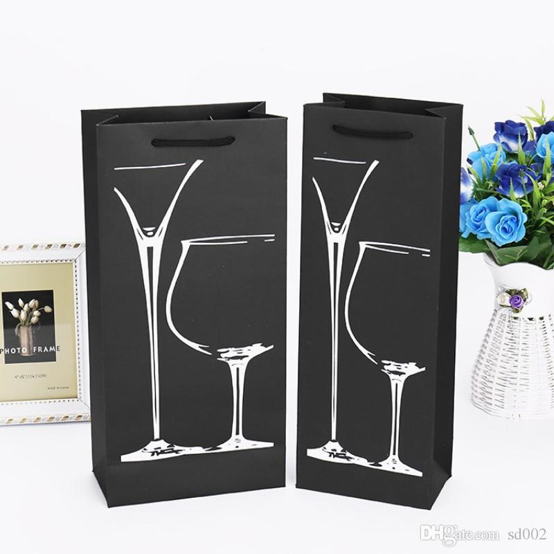 Black Cardboard Paper Pouch With Portable Lift Rope Red Wine Bags Double Layer Hemming Design Bag Gift 1 4zy B