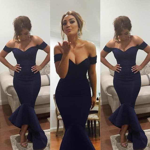Navy Blue Sexy V neck Formal Dresses Off The SHoulder Mermaid 2021 Prom Dresses Hi Lo Sexy Long Evening Dress