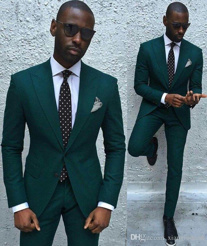 Klasik Tasarım Moda Koyu Yeşil Damat Smokin Groomsmen Best Man Suit Custom Made Düğün erkek Blazer Suits Ceket + Pantolon
