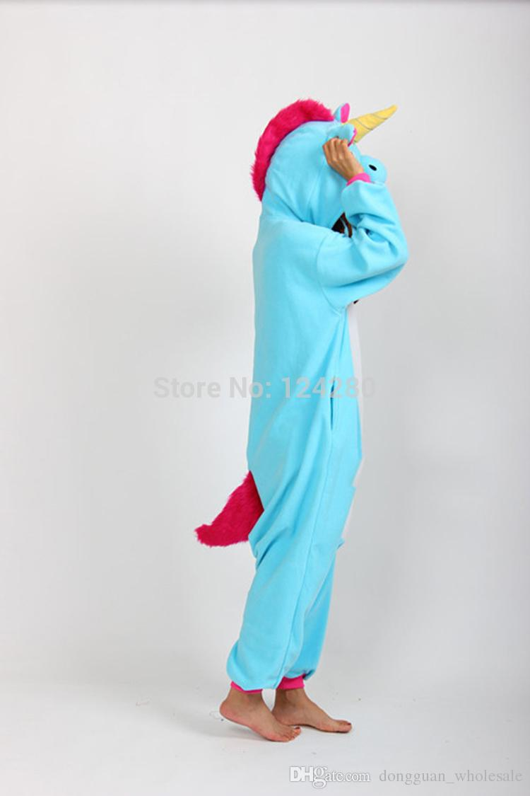 Nico the Unicorn Adult Pink Blue Unicorn onesie costume Women Men animal pajamas pyjama Jumpsuit party halloween cosplay costume