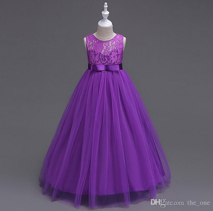 f48eafa8a2bc1 Satın Al Büyük Kızlar Prenses Elbise Çocuk Kız Deluxe Zarif Çiçek Dantel  Balo Çocuk Parti Düğün Elbise Pageant Uzun Elbise, $18.69 | DHgate.Com'da