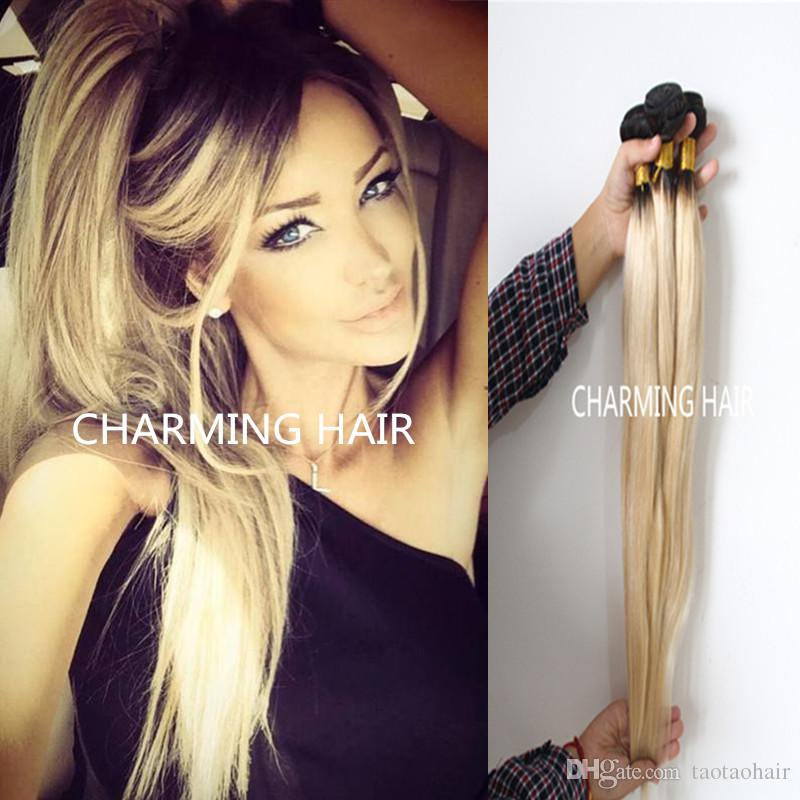 Cheap ombre hair extensions brazilian virgin silky straight color cheap ombre hair extensions brazilian virgin silky straight color 1b 613 dark root blonde ombre two tone human hair weaves 8a the best human hair weave best pmusecretfo Image collections