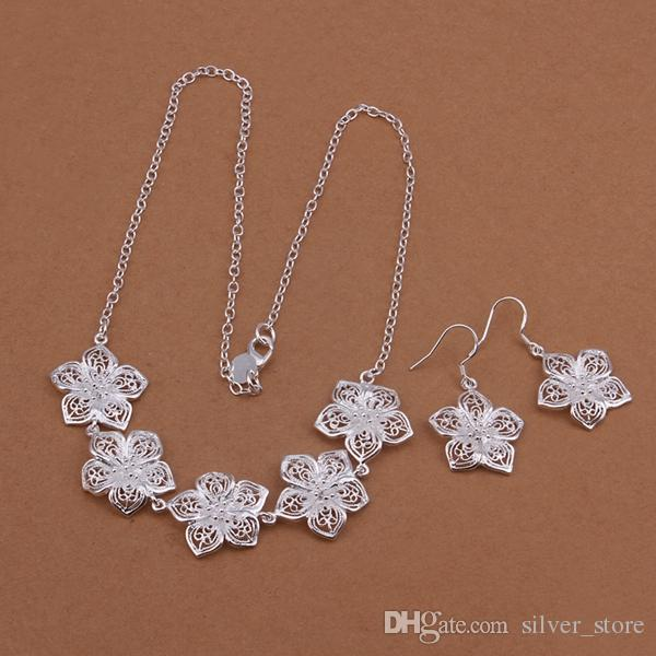 High grade 925 sterling silver Flowers necklace earrings piece jewelry sets DFMSS451 brand new Factory direct sale wedding 925 silver