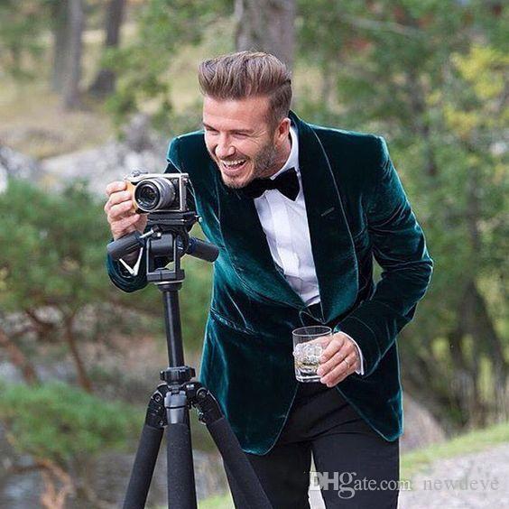 Caçador Mais Recente Casaco Calça Xaile de Veludo Xaile Personalizado Smoking Terno Do Noivo Homens Ternos De Casamento 2 Peças Slim Fit Jaqueta + Calça