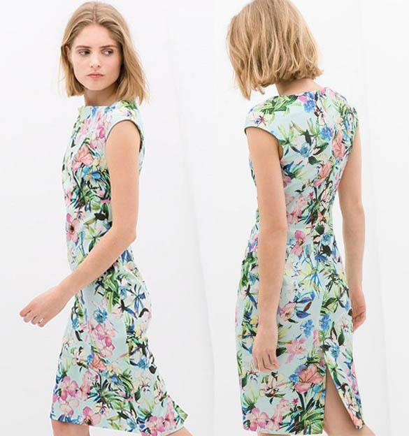 Floral Pattern Knee Length Dresses
