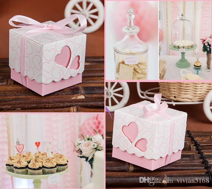 5cm*5cm*5cm Square Wedding Favors Boxes Wedding Candy Box Silk ribbon Wedding Favors And Gifts Event & Party Supplies