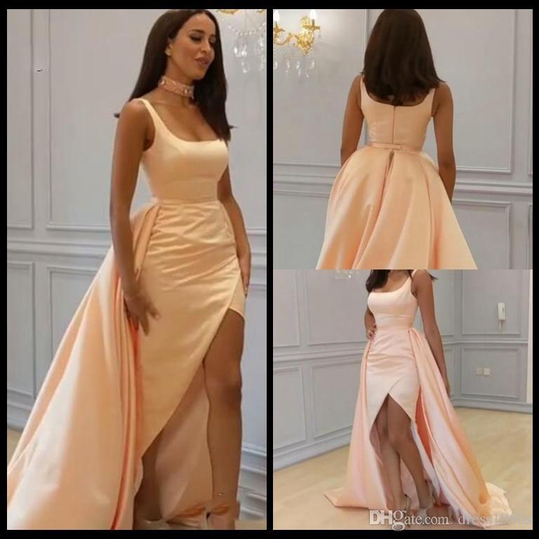 db0297b05e5b Modelo De Vestidos Sexy Quadrado Decote Longos Vestidos De Noite De Cetim  Dividir Frente Sexy Vestidos Formais Árabes Mulheres Desgaste Do Partido  Vestidos ...