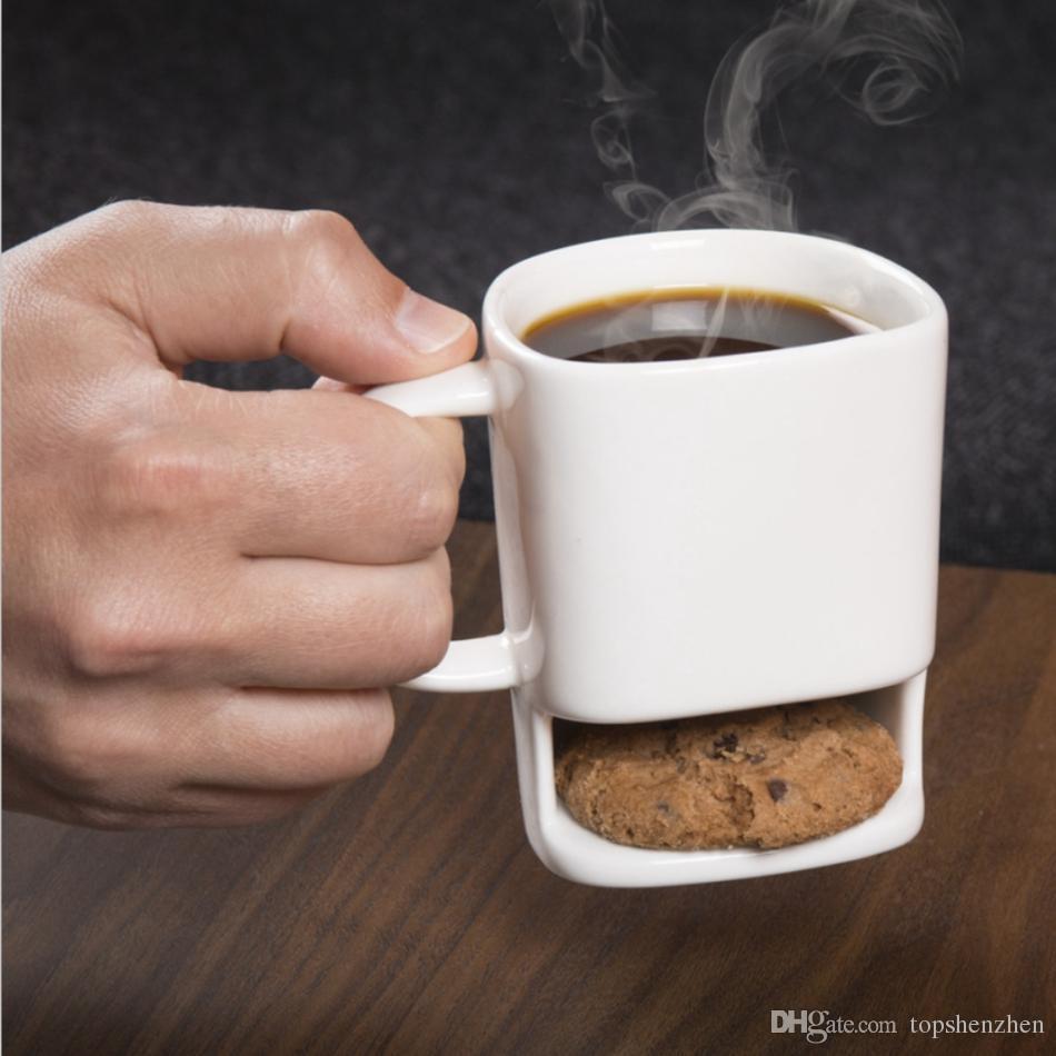 Tazze di biscotti in ceramica Biscotti creativi caffè Tazza dolci al latte Tazze il tè Bottom Tazze biscotti Biscotti Tasche Porta bicchieri Tazza