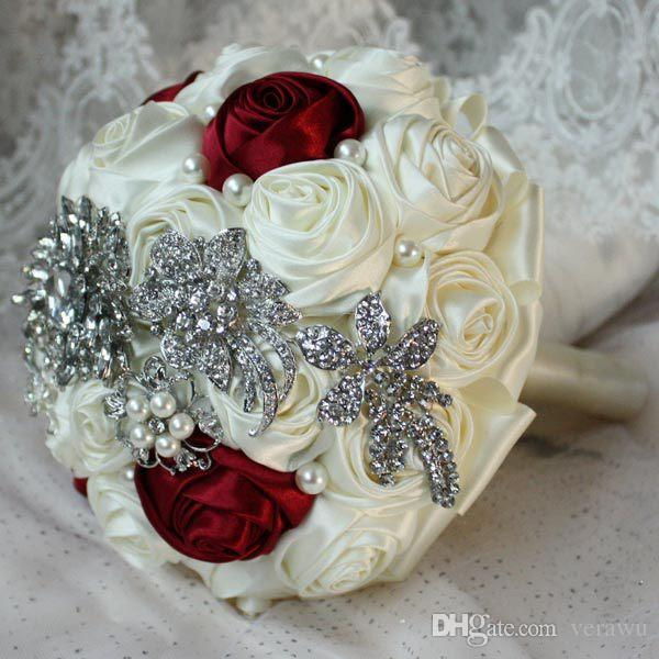 Sparkling Crystal Pearls Bridal Bouquets Off White Wine Red
