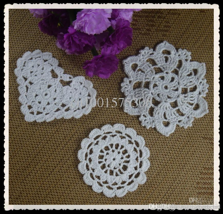 Wholesale Retro Heart Shaped Crochet Pattern Doily Hand Made Cup Mat