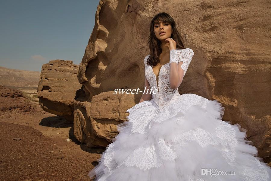 Pnina Tornai Ball Gown Wedding Dresses with Long Sleeves Lace Backless Deep V Neck Ruffles Tulle Sexy 2019 Spring Bridal Gowns