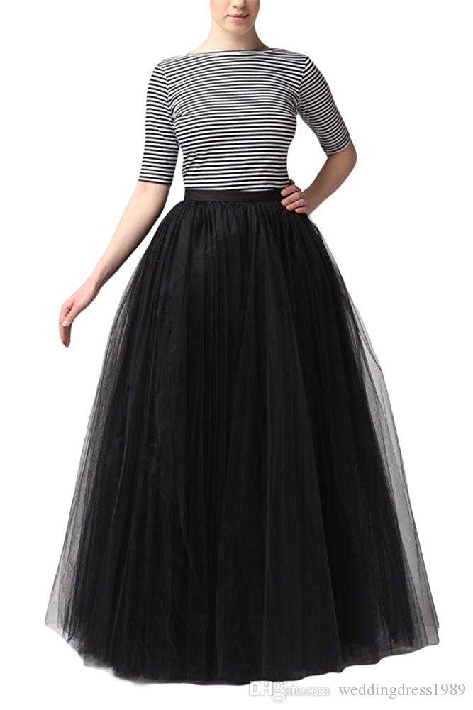 Heißer verkauf lange a-line tutu bodenlangen tüll party prom rock farbe petticoat halbe slipunterrock lager billig versandkostenfrei