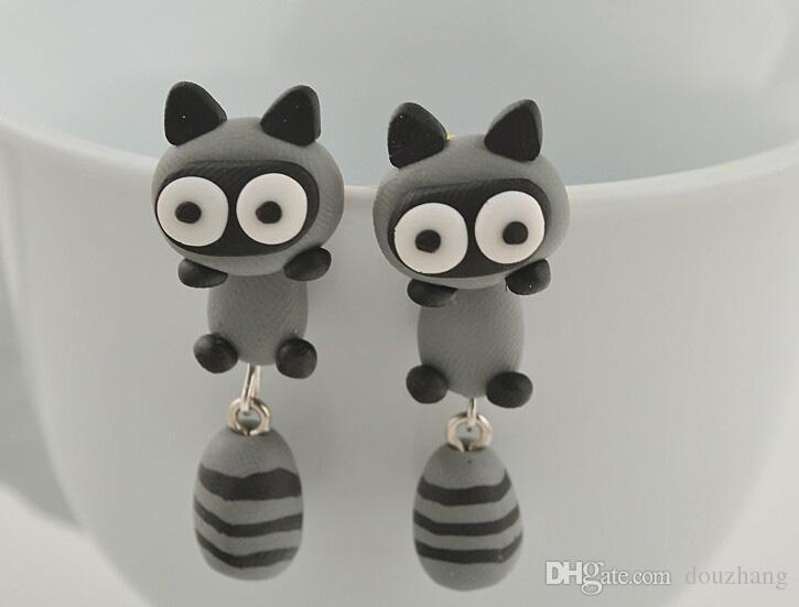Wholesale Handmade Polymer Clay Cute Lovely Cat Animal Stud Earrings Ear Stud jewelry Brincos De Festa