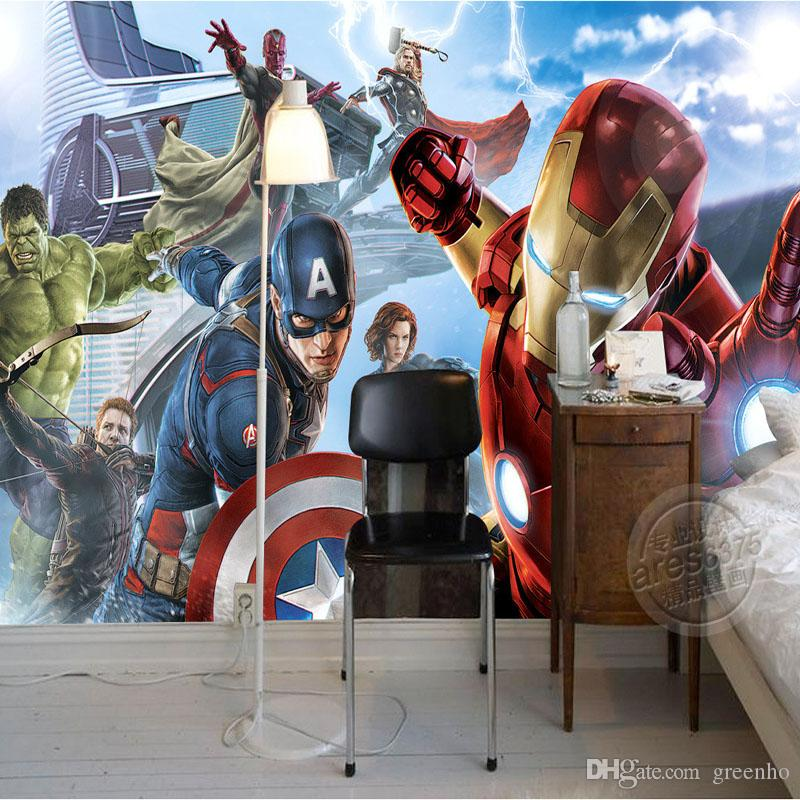 Avengers Boys Bedroom Photo Wallpaper Custom 3d Wall Murals Marvel Comics  Wallpaper Childrenu0027S Room Interior Design Room Decor Iron Man Hulk Animated  ...